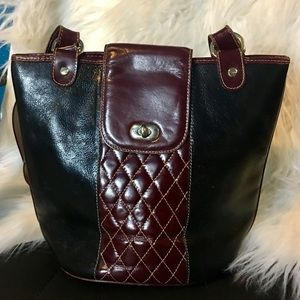 Fiori leather bag berry and black